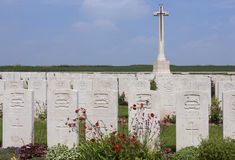 British kriger kyrkogården - Sommen - Frankrike Arkivbild