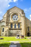 British Landmark Church Of Waltham Abbey Town. London, United Kingdom - September 15, 2018: View of Waltham Abbey and its surroundings on a clear sunny day stock image