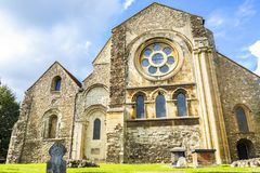 British Landmark Church Of Waltham Abbey Town. London, United Kingdom - September 15, 2018: View of Waltham Abbey and its surroundings on a clear sunny day stock photo