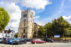 British Landmark Church Of Waltham Abbey Town. London, United Kingdom - September 15, 2018: View of Waltham Abbey and its surroundings on a clear sunny day royalty free stock photo