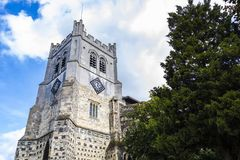 British Landmark Church Of Waltham Abbey Town. London, United Kingdom - September 15, 2018: View of Waltham Abbey and its surroundings on a clear sunny day stock photography