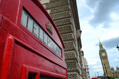 British landmark of telephone booth and big ben Stock Image