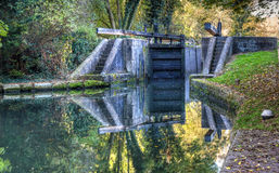 British landscape. Lock on the canal. HDR image Stock Photo