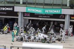 Lewis Hamilton pits for tyres Royalty Free Stock Photo