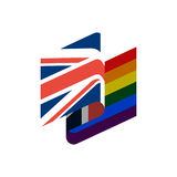British and LGBT flag. Symbol of tolerant United Kingdom. Gay si Royalty Free Stock Photos