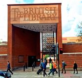 The British Library London. The entrance arch to the British Library which holds the national library of the United Kingdoms which was established in 1973 Stock Photo