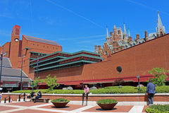 British library, London. British library with St Pancras station on the background, London, UK Royalty Free Stock Image