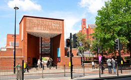 British Library. LONDON, UK. JULY 9, 2014: Architectural detail of the entrance to the famous British Library building, the national library of the UK Stock Photo