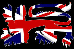 British Lion Silhouette On Union Jack Flag. The traditional English lion in silhouette over the Union Jack United Kingdom Flag Stock Images
