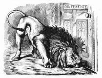 The British Lion smells a Rat. An engraving from Punch magazine depicts the British Lion as it smells a rat while locked out of a European conference Royalty Free Stock Images