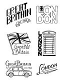 British logo, symbols, badges or stamps, emblems, architectural landmarks, flag of the United Kingdom. Country England. Label. Phone Booth, London and the Royalty Free Stock Photography