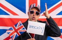 British male businessman Brexit banner stock images