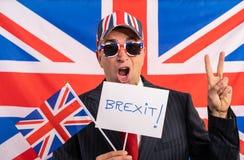 British male businessman Brexit banner stock photos