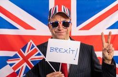 British male businessman Brexit banner stock image