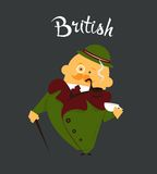 British man or character, cartoon, citizen of. Great Britain in tweed suit and hat, tobacco pipe with cup of tea Royalty Free Stock Photography