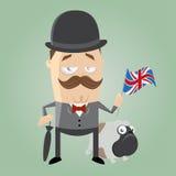 British man illustration. Illustration of a british man with bulldog Stock Photos