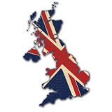 British map. With british flag colors on a white background Royalty Free Stock Photos