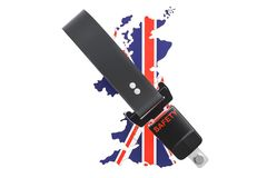 British map with safety belt. Security and protect or insurance Stock Photos