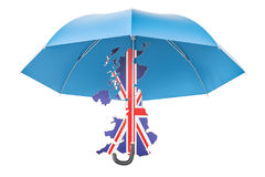 British map under umbrella. Security and protect or insurance co. Ncept, 3D stock illustration