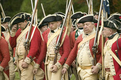 The British march to Surrender Field. At the 225th Anniversary of the Victory at Yorktown, a reenactment of the siege of Yorktown, where General George Stock Photography