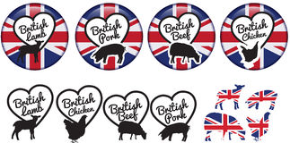 British Meat Stickers Or Badges Or Logos Stock Photos