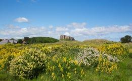 British medieval castle Bamburgh Northumberland north east England. Splendid medieval Bamburgh Castle Northumberland north east England UK Royalty Free Stock Photography