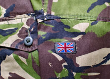 British military camouflage with flag patch Stock Images