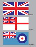 British Military Flags. The 3 flags of the British military stock illustration