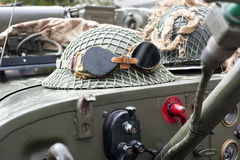 British military helmet on a vehicle Stock Photography