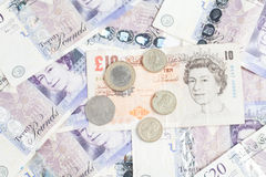 British Mixed Pounds and coin Stock Image