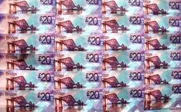 British Money. Scottish sterling twenty pound  banknotes Stock Photos