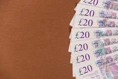 British money background 20 pound notes Royalty Free Stock Image