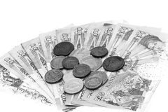 British money in black and white. Royalty Free Stock Photo