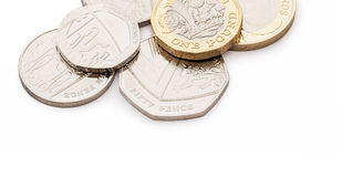 British money, including new design pound coin stock photos