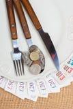 British money on kitchen table, coast of living Stock Image