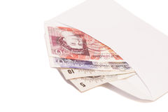 British money notes in envelope Royalty Free Stock Images
