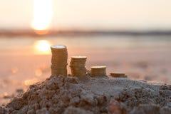 Pound Coin Stacks royalty free stock photos