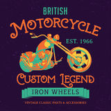 British Motorcycle Custom Legend Poster. With transport in the centre vector illustration Royalty Free Stock Photos