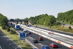 British motorway junction with roadworks Stock Photography