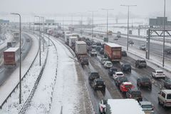 British motorway M1 during snow storm. Hemel Hempstead, UK - December 10, 2017: Traffic jam on the British motorway M1 during snow storm Stock Images
