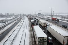 British motorway M1 during snow storm. Hemel Hempstead, UK - December 10, 2017: Traffic jam on the British motorway M1 during snow storm Stock Photography