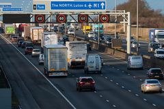 British motorway M1 traffic. Redborn, UK - January 25, 2018: Traffic on British motorway M1 royalty free stock images