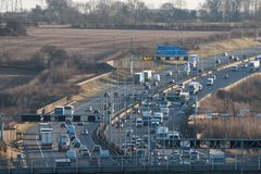 British motorway M1 traffic. Redborn, UK - January 25, 2018: Traffic on British motorway M1 stock photo