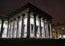 British museum. Columns of the British Museum at night Royalty Free Stock Photography
