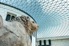 British museum Hall with Lion. In London Stock Photo