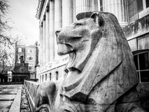 British Museum lion flanking rear entrance of museum; profile view. Black and white. Stock Photography