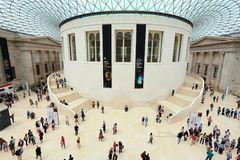 The British Museum. LONDON, UK - JULY 9, 2016: People visit British Museum Great Court in London. The museum was established in 1753 and holds approximately 8 Royalty Free Stock Photos