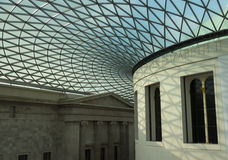 British Museum and roof detail. The British Museum showing Norman Foster designed roof covering the central area of the Museum Stock Photos