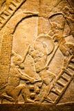 BRITISH MUSEUM - szczegóły od asyryjczyków ściennych pokazuje Egipskich budynków w tle Zdjęcie Royalty Free