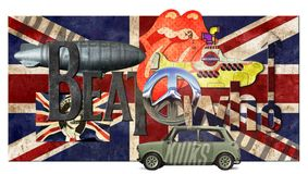 British Music Bands Grunge Pop Art. Beatles pink floyd, rolling stones, led zeppelin, the who, on rustic union jack stock photography